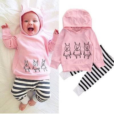 Baby Clothing Set Boys Girls Long Sleeve Hoodie Sweatshirts Striped Harem Pants