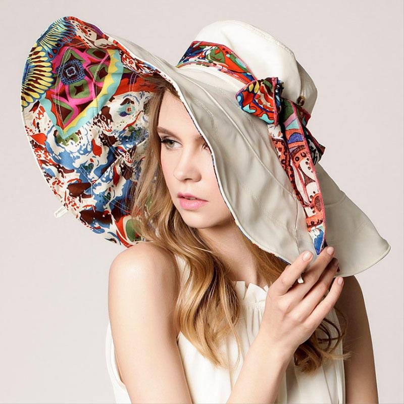 帽子女士夏天韩版太阳帽沙滩帽大沿户外防晒帽 防紫外线遮阳帽女