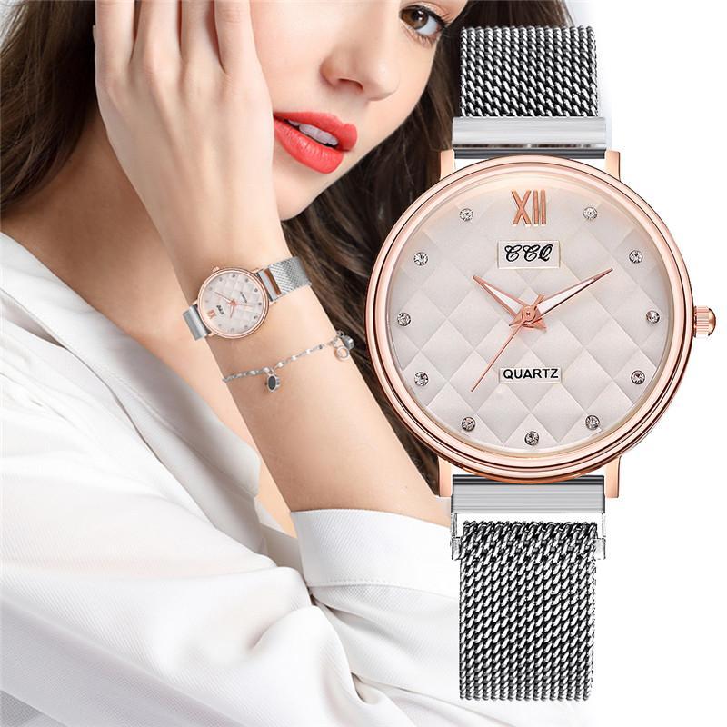 Роскошные нержавеющей стали кварц Wristwatch для женщин Магнитные часы Пряжка Аксессуары фото