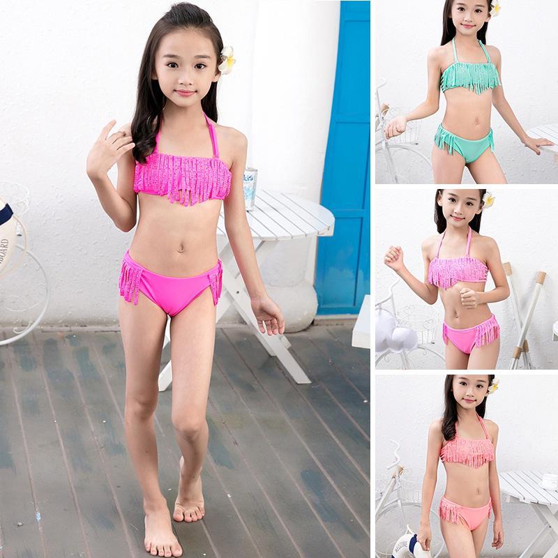 Bottoms Set Kids Girls Tankini Swimsuit Swimwear Beach Bathing Suit Bikini Top