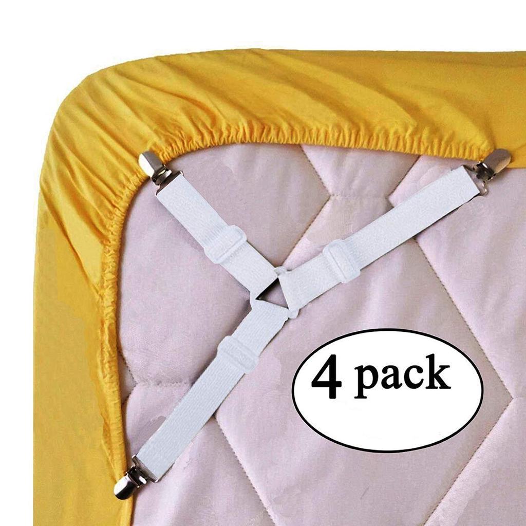 4pcs Adjustable Bed Sheet Corner Holder Elastic Straps Fasteners Clip neVVUS