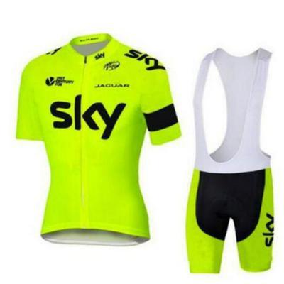 Jerseys team ski fluorescent yellow pro cycling jersey set maillot racing bike  wear ropa 358c21471