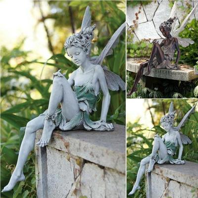Resin Crafts Garden Fairy Garden Decor Art Decoration Outside Yard Angel Ornaments Elves Art Home Decor