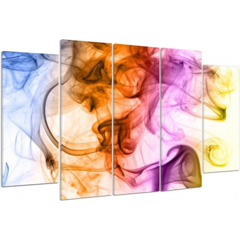 Color Smoky Abstract 5 Pcs Canvas Print Wall Artwork Poster Picture Home Decor