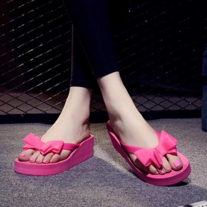 e5bb1dfe4f31 Ladies Summer Platform Flip Flops Thong Wedge Beach Sandals Knotbow Shoes-buy  at a low prices on Joom e-commerce platform