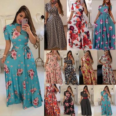White, 4XL Onefa Womens Bohemian Plus Size Dress Vintage Print Sleeveless V Neck Fashion Maxi Dress