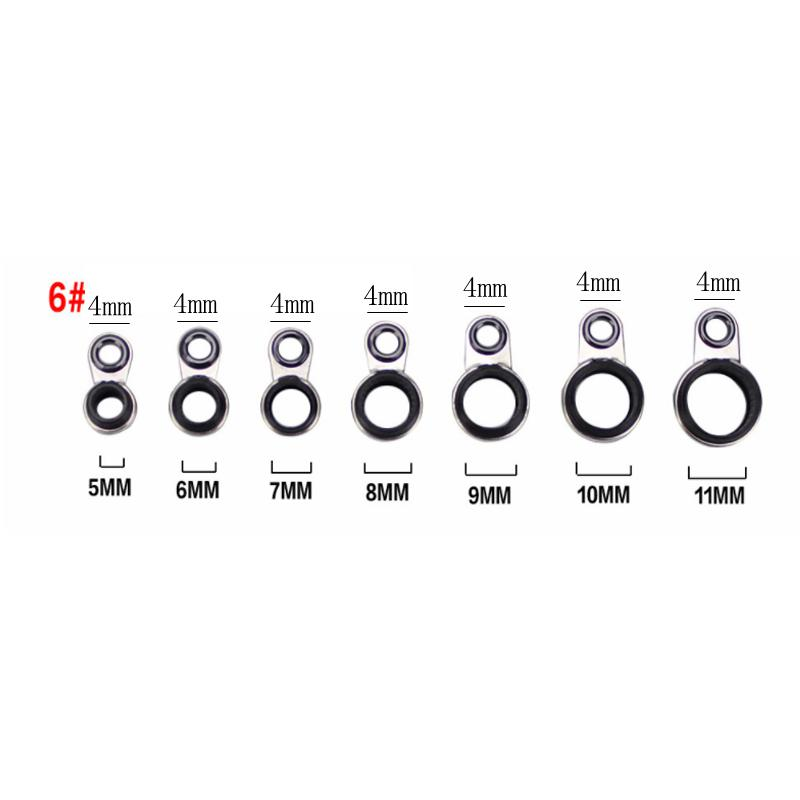 7Pcs Mixed Size Fishing Top Rings Rod Pole Repair Kit Line Guides Eyes OHVWI