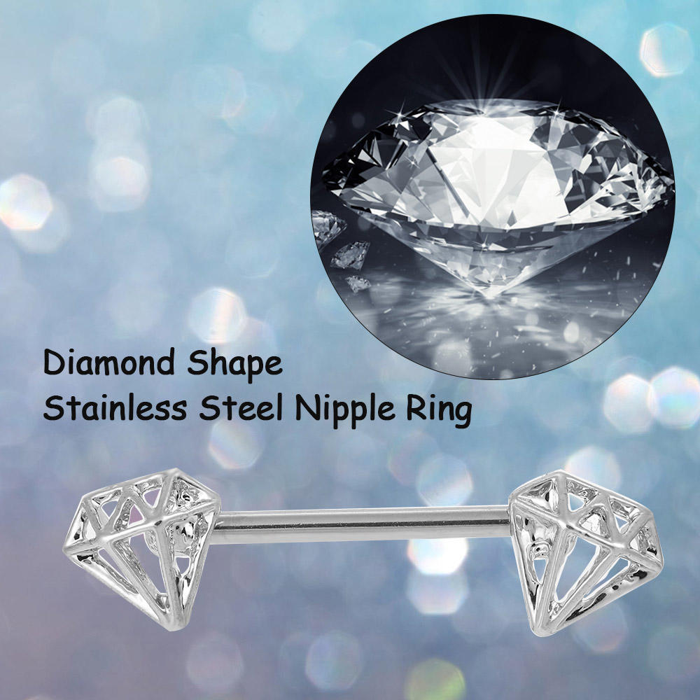 Stainless Steel Nipple Ring Bar Barbell Shield Diamond Style Body ... 5652a573f5c1