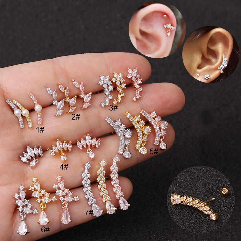 Stainless Steel Pearl Barbell Cartilage Tragus Helix Stud Bar Earrings   B/_ws