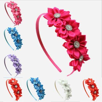 festa hairband flower CON PERLE E CRISTALLI STRASS per battesimo party matrimoni wedding FASCIA ELASTICA BABY CAPELLIFIORE ORGANZA headband comunione