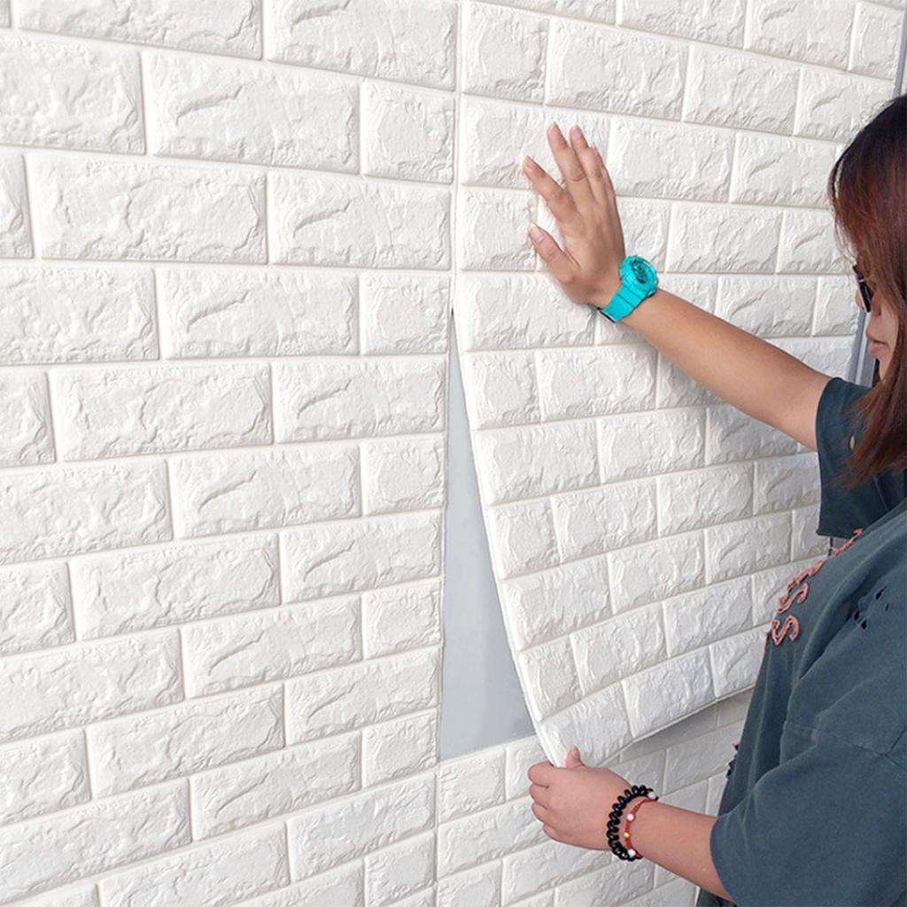 3D Wall Sticker Panels Brick Stone Self-adhesive Wallpaper Room Decor Waterproof