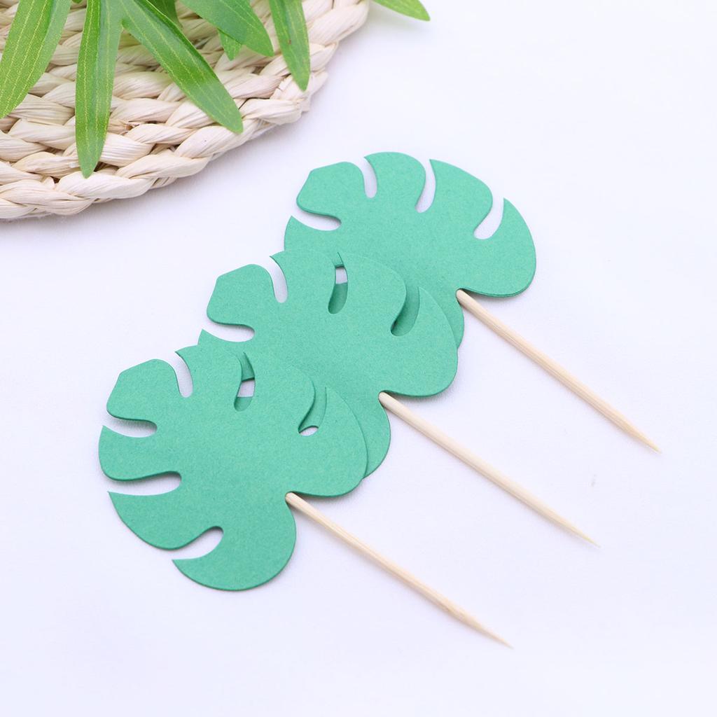 6//12 Pcs Green Artificial Tropical Palm Leaves Hawaiian Luau Party Table Decor