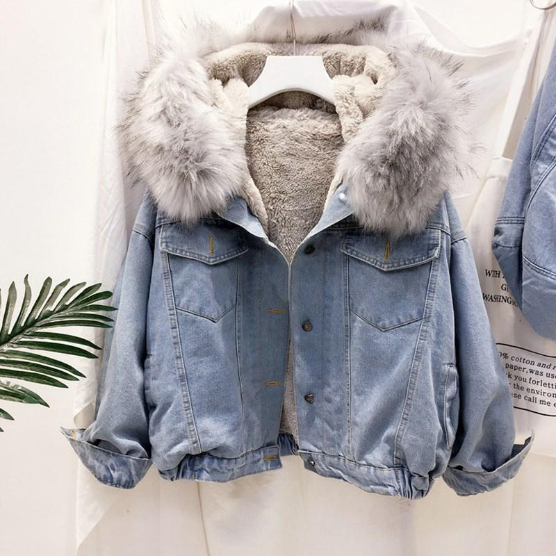 Women Hooded Faux Fur Collar Thicken Trucker Jeans Coat Winter Warm Denim Jacket