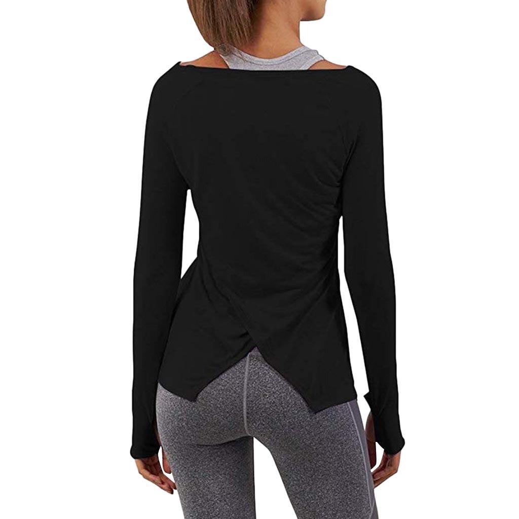 Women Shirt Workout Yoga Long Sleeve Solid Tunic Top Split Back Sport T-Shirts Blouse