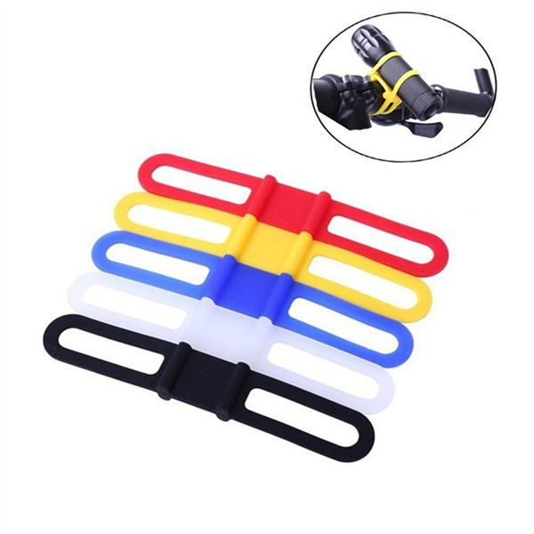 5PCS Cycling Bicycle Bike Flexible Silicone Tie Strap Bandage Band Holder Mount
