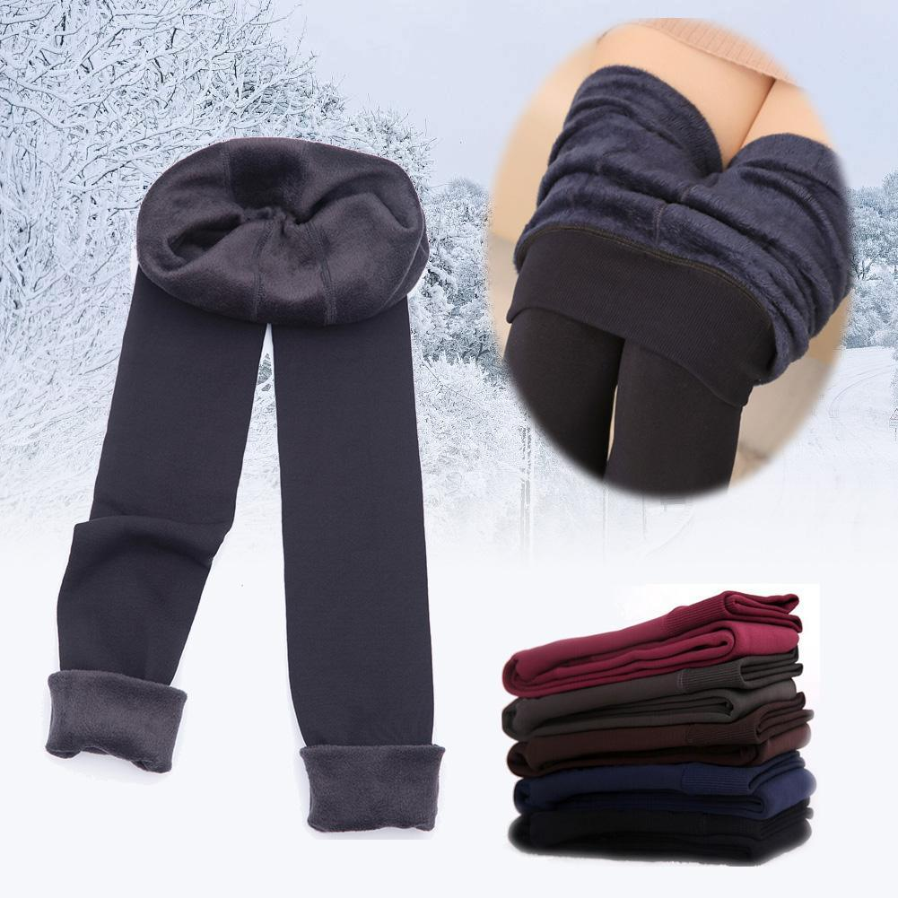 fb268eff3 Fashion 8 Colors Brushed Stretch Fleece Thick Tights Warm Winter ...