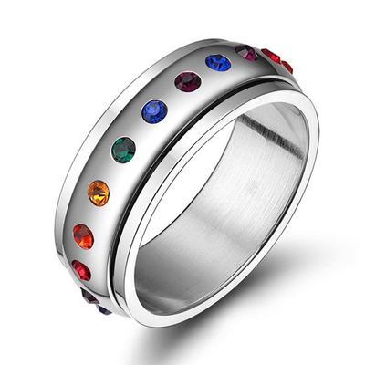 f80555c5f995 Arco iris de acero giratorio con Spinner Rhinestone cristal Multicolor  anillo