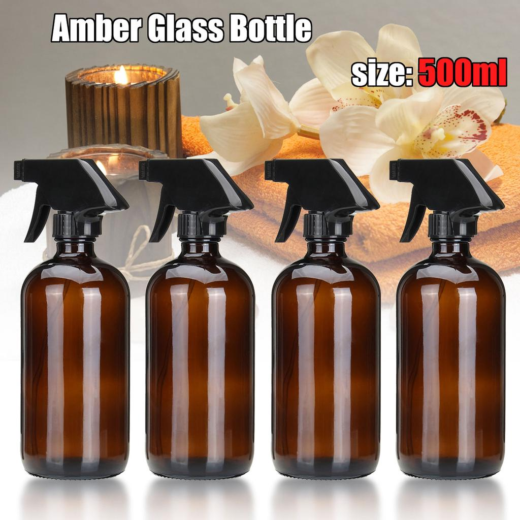 f3eced0d544 500ml Dark Amber Glass Spray Bottle W  Trigger Sprayer Home Travel ...