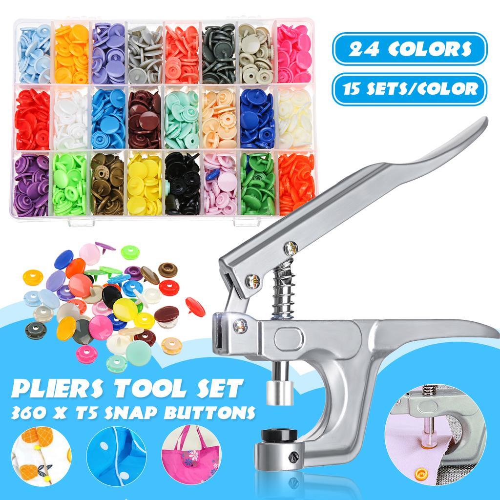 200 Sets 800 PCS 20 Colors T5 Plastic Fastener Snap DIY Resin Press Stud Tool