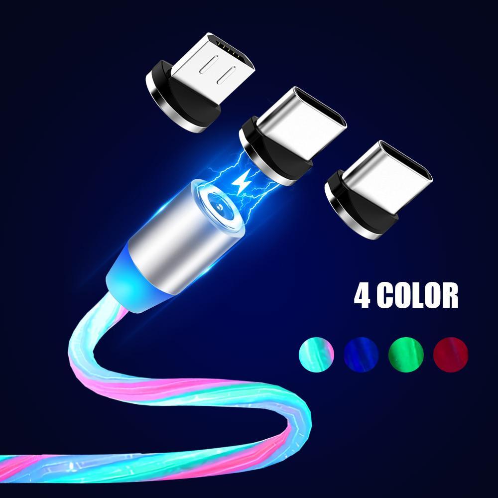 Магнитный светодиодный световой кабель Быстрая зарядка Магнит Micro USB Тип C Кабель светодиодный провод Шнур Type-C зарядное устройство фото