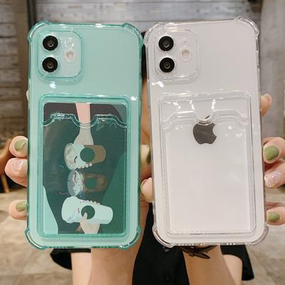 Shockproof Card Slot Silicone Soft Case Cover For Iphone 12 Pro MAX 12 Pro 11 X XR XS 7 8 Plus SE 2020 Clear Mobile Phone Case
