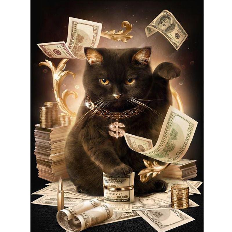 外贸爆款钻石画 新款招财猫贴钻十字绣 工厂直销