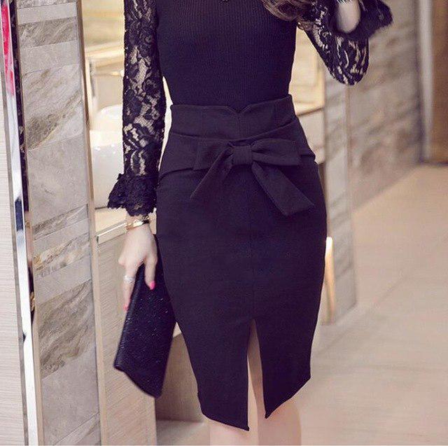 ab963f109 Mujeres flacas lápiz Casual Plus tamaño moda rodilla longitud alta cintura  falda Bodycon arco faldas faldas - comprar a precios bajos en la tienda ...