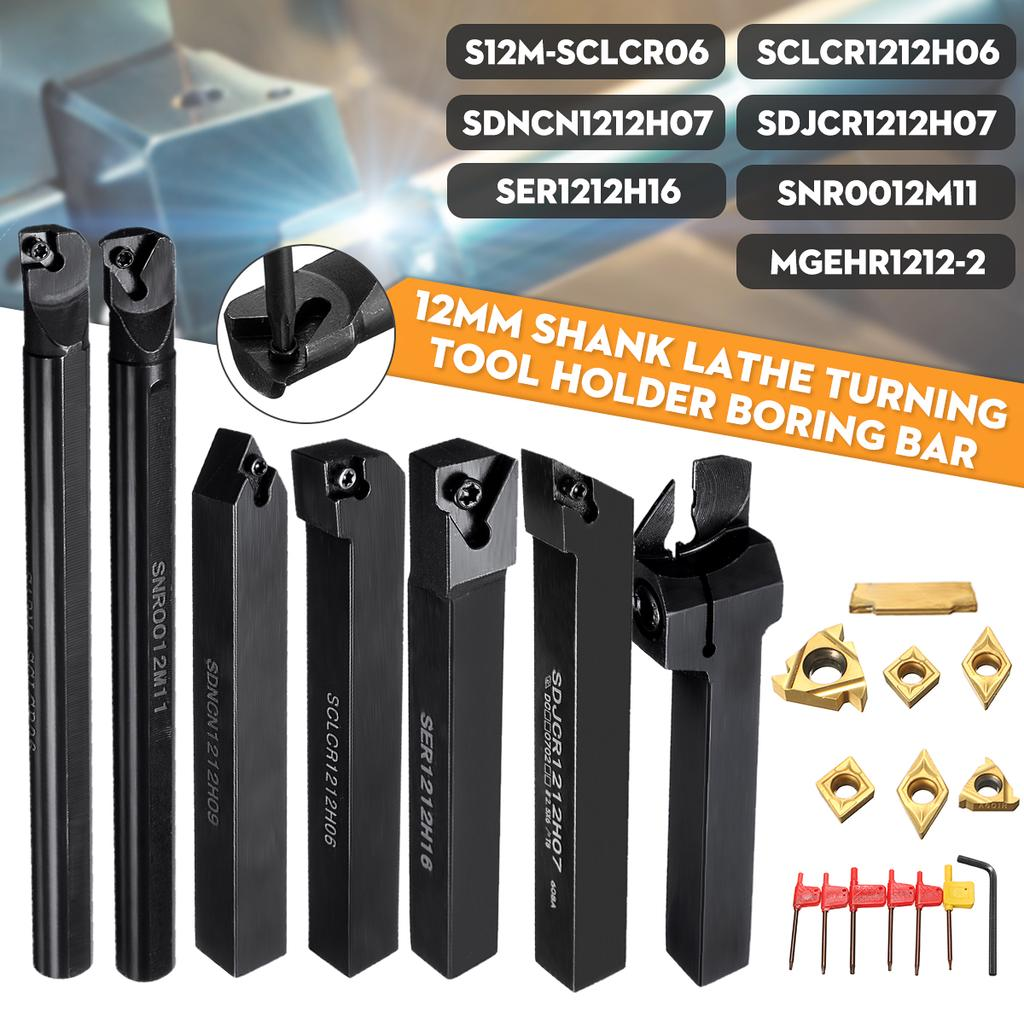 4* DCMT0702 Insert with 4Pcs Of 12mm Lathe Boring Bar Turning Tool Holder CNC