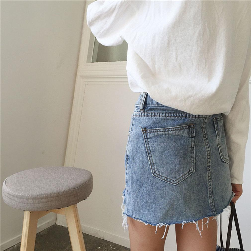 32d6a5f712 Lavado de Jeans verano mujeres cintura alta bordes irregulares Denim ...