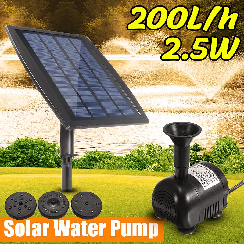 12V 800L//H Solar Power Fountain Garden Pond Pool Water Feature Submersible Pump