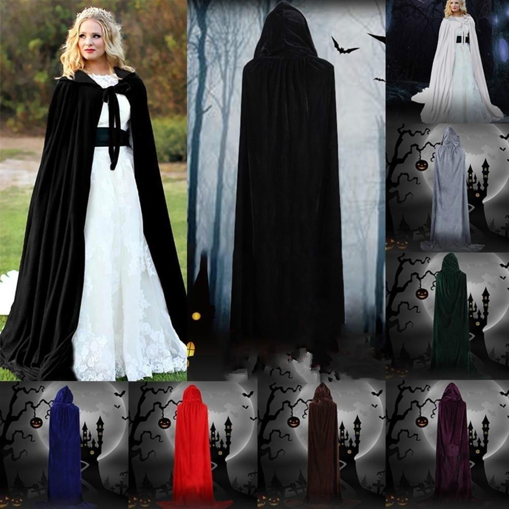 Velvet Hooded long sleeves Cloak Wicca Robe Renaissance Medieval Witchcraft Larp