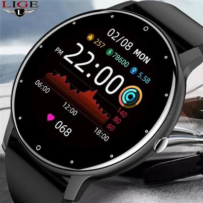 The LIGE smartwatch with a 1.28 inch screen, IP67 water protection, a step counter and a pulsometer