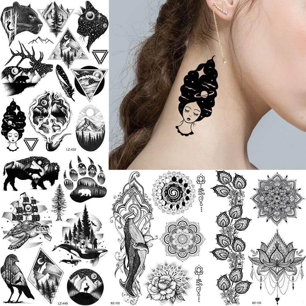 1PC gefälschte schwarze Universum Tattoos temporäre Körper Arm Tattoo Aufkleber Frauen Männer Knöchel Dreieck Tatoos