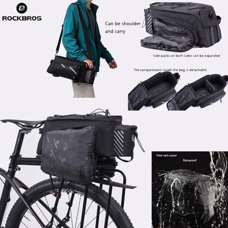 RockBros Bicycle Double Pannier Rear Bike Waterproof Bag 30L Black