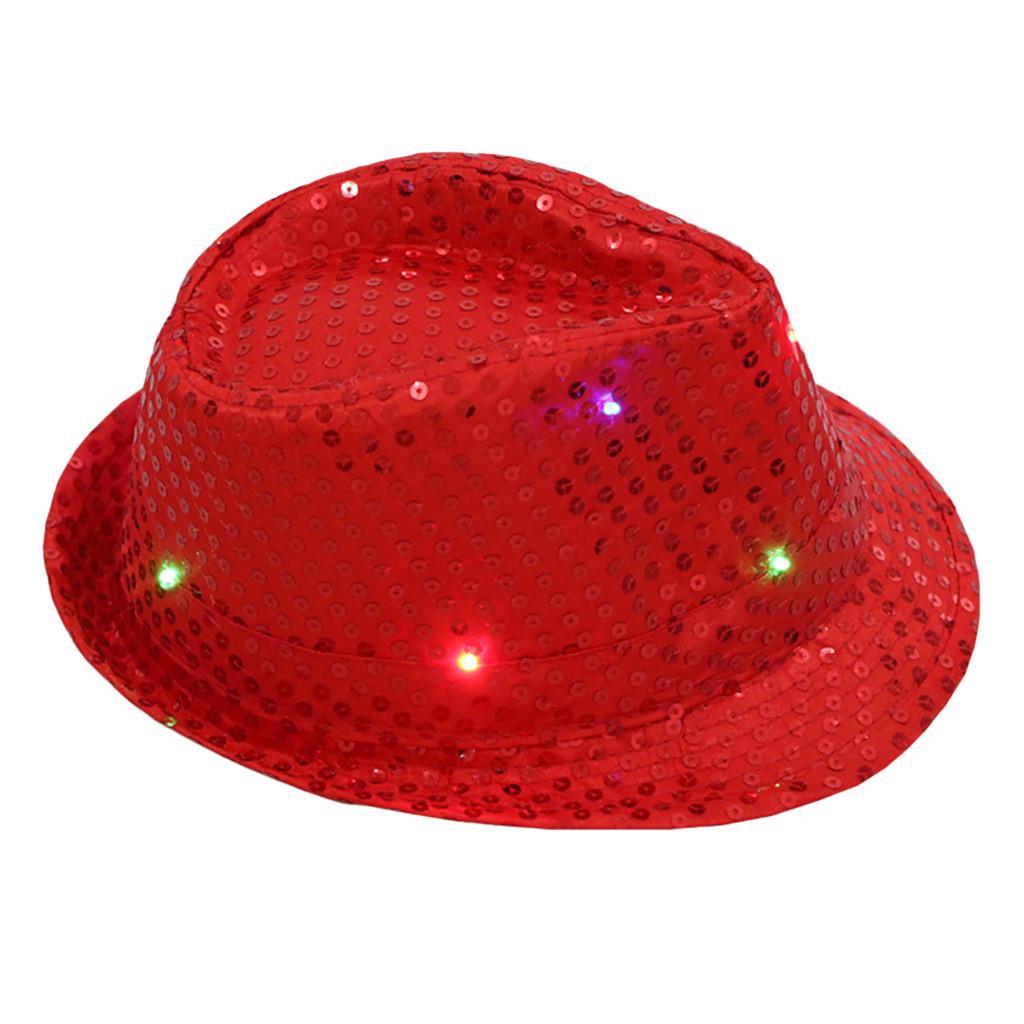 Light Up Sequin Trilby Hat Black LED Lights Adults Fancy Dress Accessory