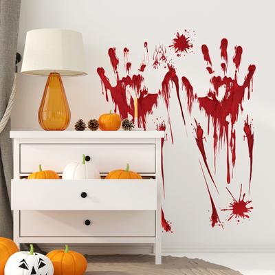 Halloween Horror Window Glass Decoration Pumpkin Footprint Bloody Handprint Sticker
