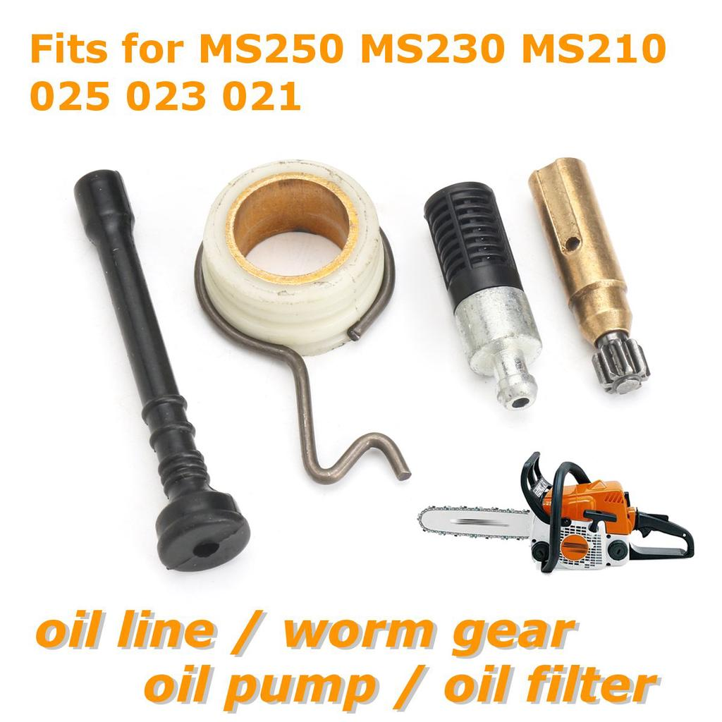 Chainsaw Oil Pump Worm Gear Oil Pipe Filter Set Accessory Kits for STIHL MS 250 MS230 MS 210 by Delaman