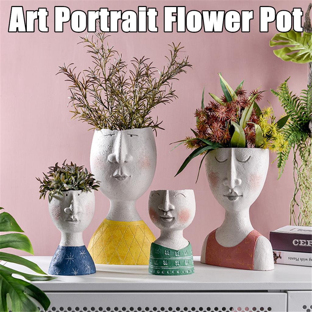 Details about  /Ceramic Flower Pot Portrait Vase Fleshy Arrangement Vase Cute Home Decoration