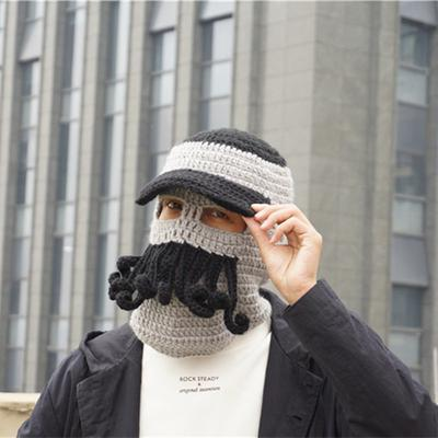 1e95d9348f8 Men s Octopus Woolen Caps Funny Warm Face Gini Outdoor Wind Handmade Knitted  Beard Hats