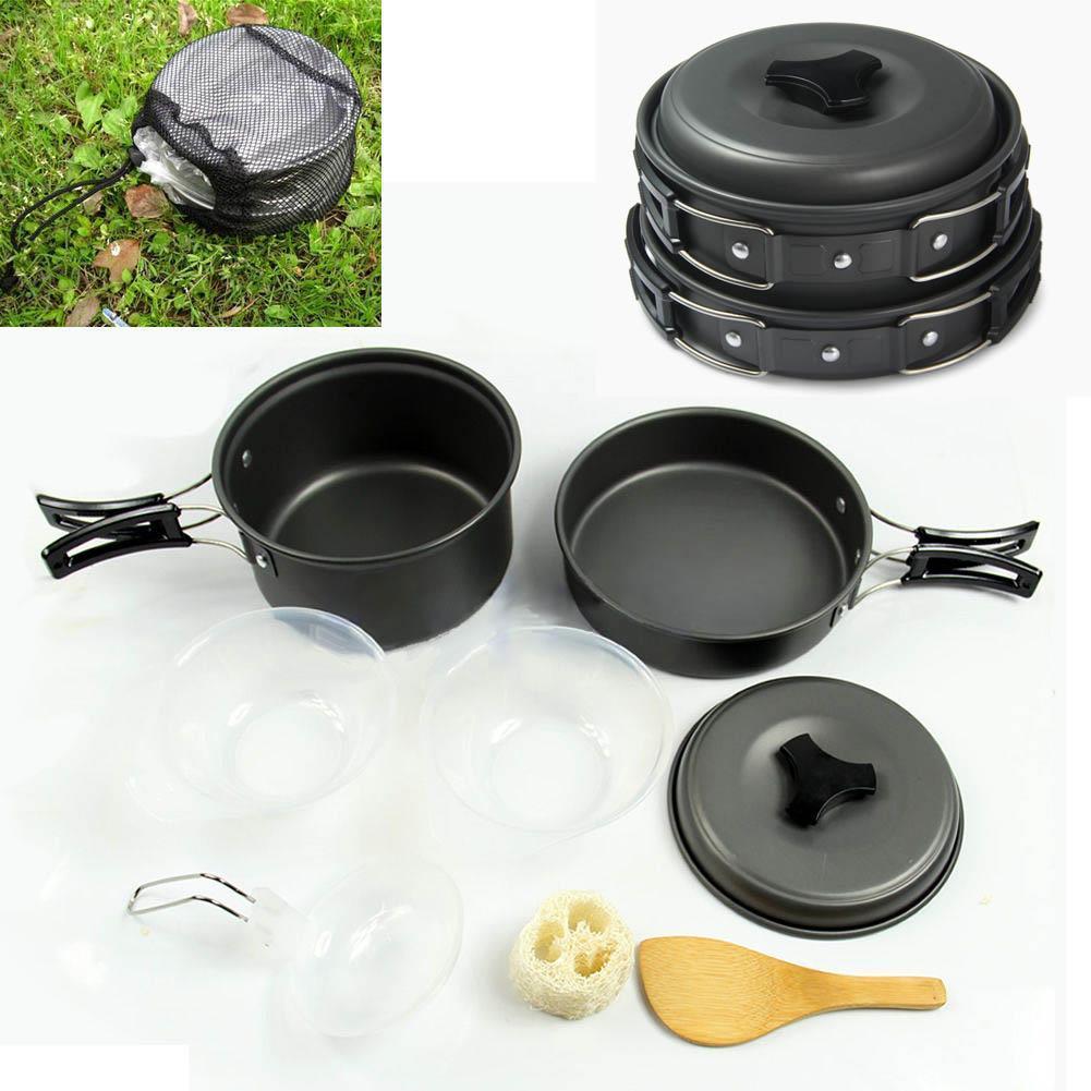 Portable Camping Stove Wood Burning Stove Cooking Pot Set fr Outdoor Picnic Z8D8