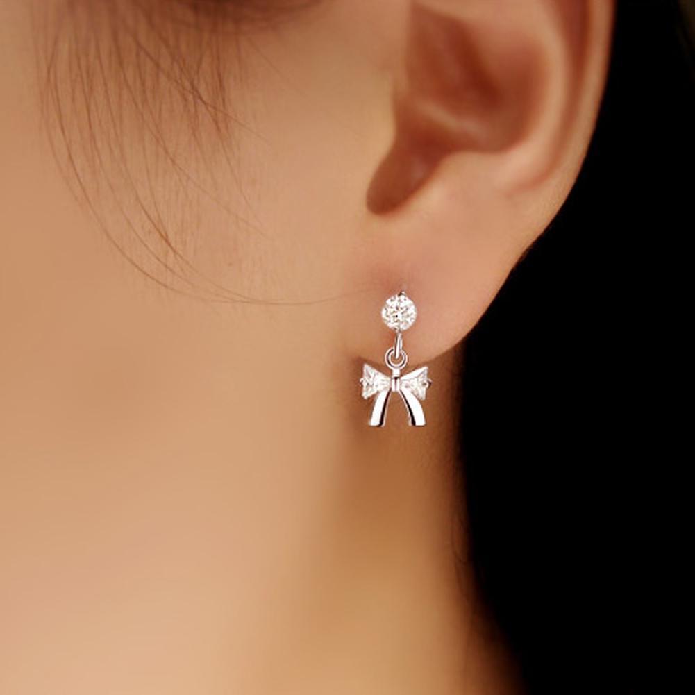Bamoer Women Fashion Simple Earclip Boucles d/'oreilles 925 Argent Sterling Avec Zircone cubique Bijoux