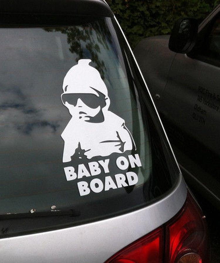 1x Universal Baby on Board Footprint Warning Car Sticker Window Tail Decal Cute