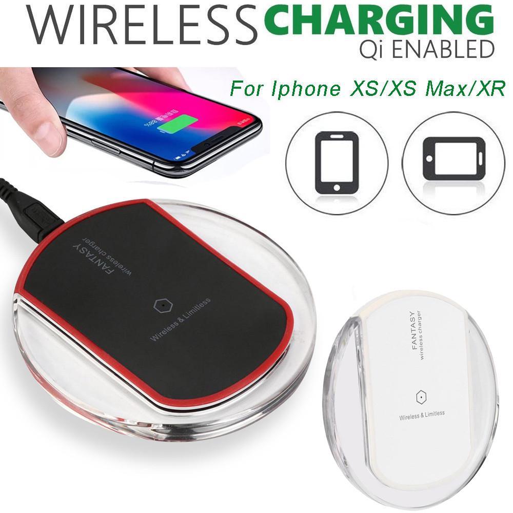 Polar Ultra thin Clear Mini Qi Wireless Charger Charging Pad For Iphone XSXS MaxXR