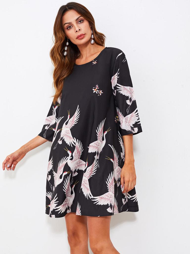 01dcad3dcff SHEIN Crane Bird Print Swing Dress-buy at a low prices on Joom e ...