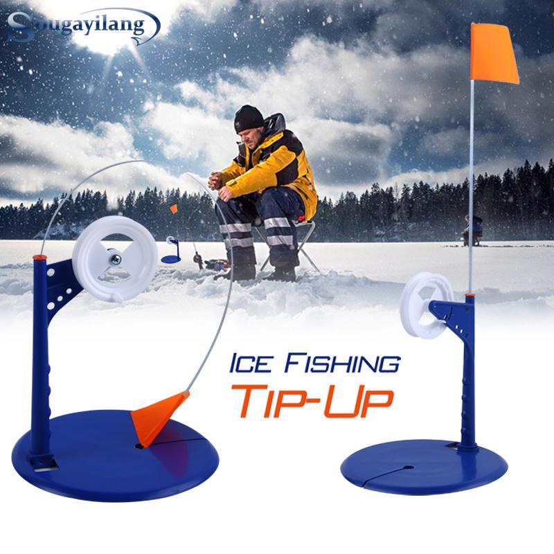 Winter Ice Fishing Rod Tip-Up Compact Metal Pole Orange Flag Angler Tackle Tools
