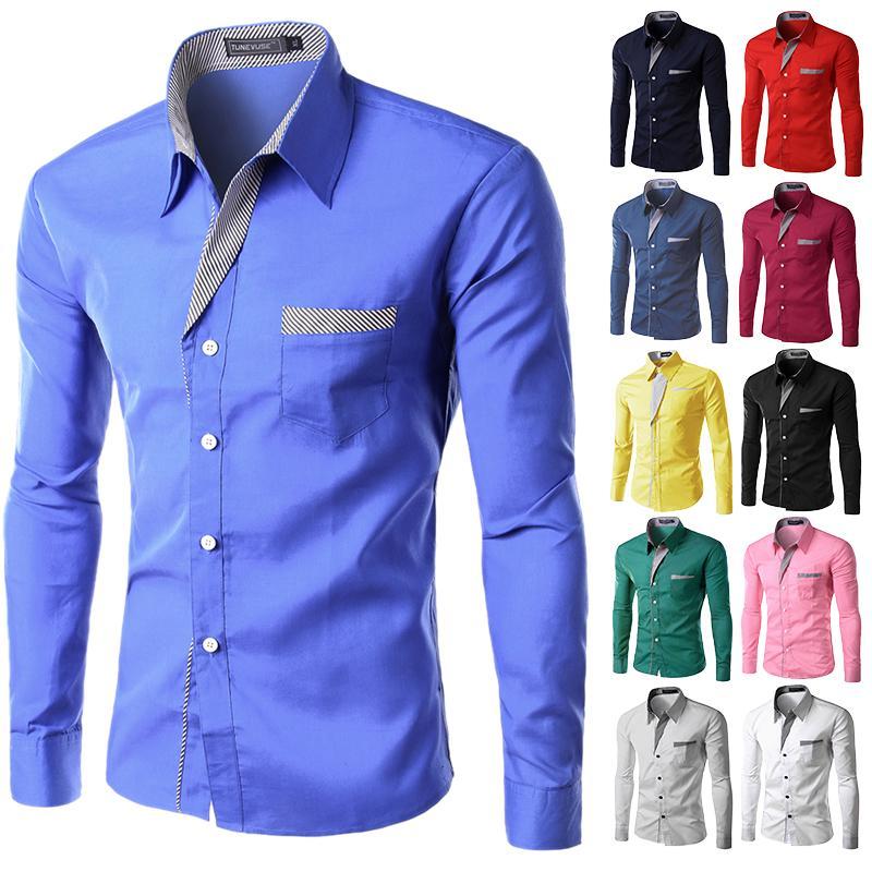速卖通ebay新款衬衫 条纹贴布设计长袖衬衫7个颜色5个码A20/20
