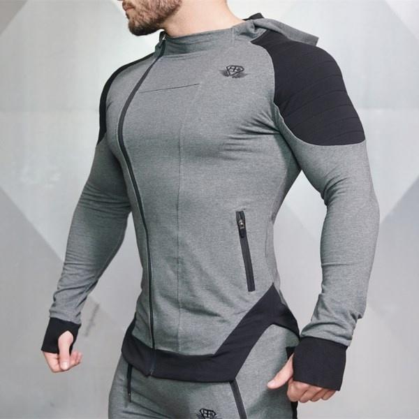 运动健身服男士外套肌肉兄弟长袖连帽上衣