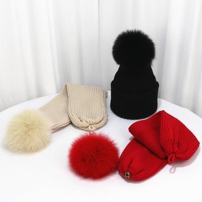 52bb95c8bd0 Winter Women Version Wool Hat Big Ball Real Fox Fur Knitted Cap Korean Warm  Scarf Skullies
