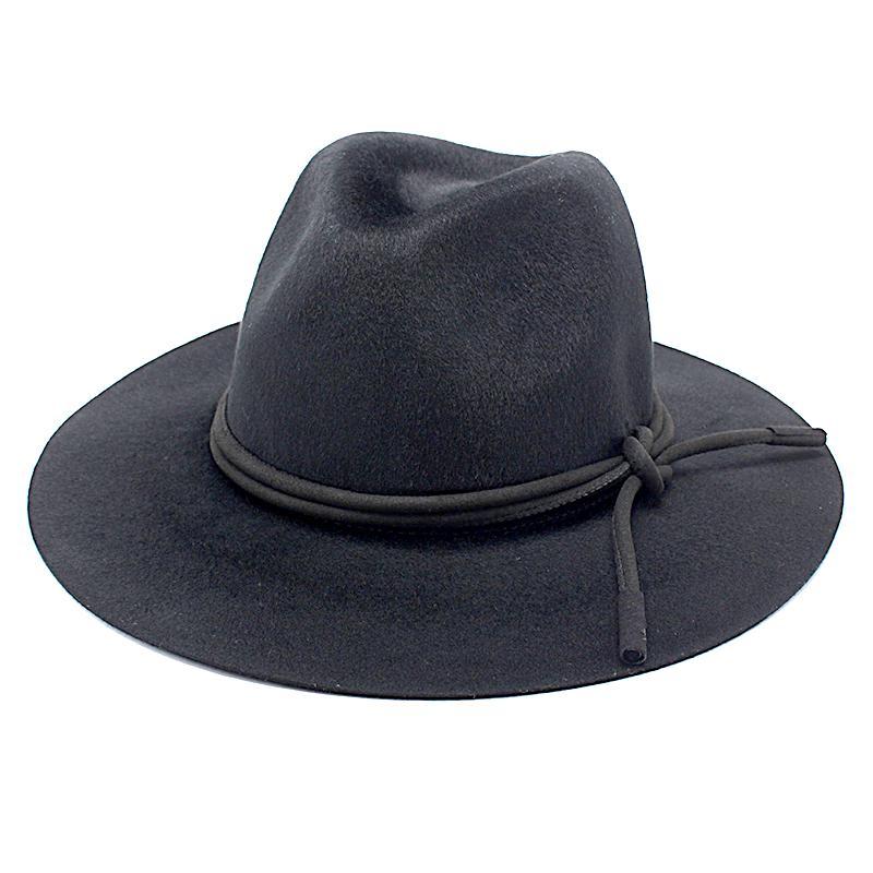 Hombres Unisex Vintage Jazz sombreros de lana negro grande Panamá ... 0ae597f684b