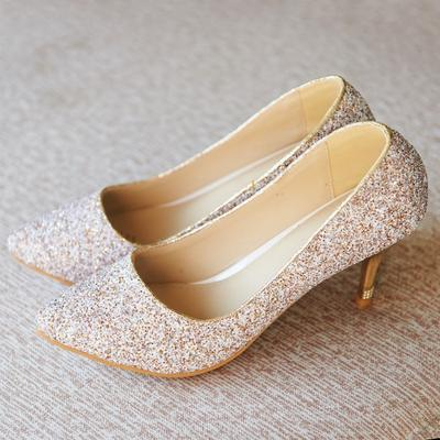 e845271748da12 Women Bling Sequins Party Casual Pumps Crystal Shoes Sexy Heeled Fashion Wedding  Shoes Bridal Shoes
